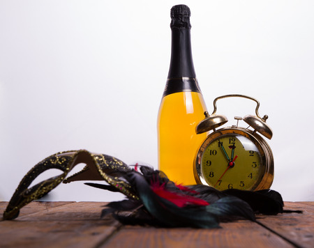hogmanay: Old clock and champagne