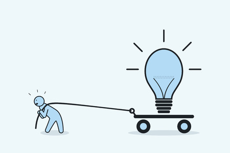 Businessman pulls light bulb on cart. The concept of perseverance and promotion of idea.