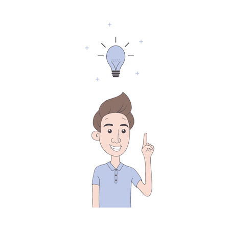 Man with good idea. A young man smiles with his finger raised up. Hand drawn illustration in cartoon style. Illustration