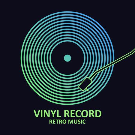 Vinyl record. Music poster with vinyl disc. Ilustração