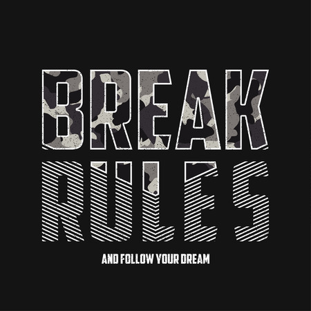 Breek regels - slogantypografie met camouflagetextuur. Militair t-shirtontwerp. Trendy kledingprint in legerstijl.