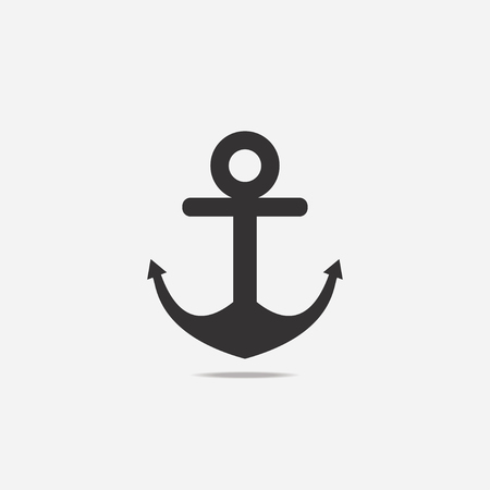 Anchor icon with shadow on light background.