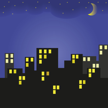 Building at night. City and night sky with stars and moon. Vector illustration.