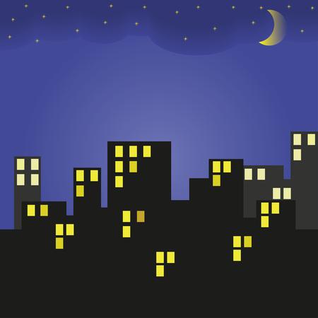 Costruire di notte. Città e cielo notturno con stelle e luna. Illustrazione vettoriale.