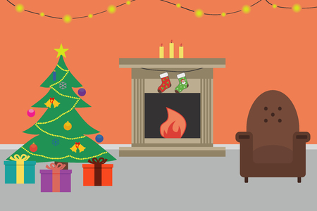 Christmas room interior. Christmas tree, chair, gifts, decorations, fireplace, candles. Flat style. Vector illustration.