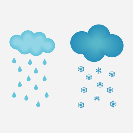 Weather icon. Cloud with rain. Cloud with snow. Vector illustration.