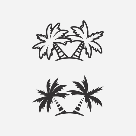 Palm trees icons on light background. Vector illustration.