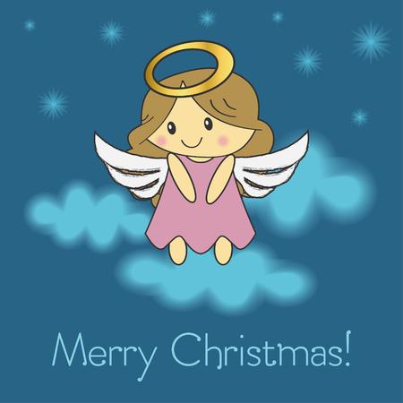 Merry Christmas greeting card. Christmas angel. vector illustration.