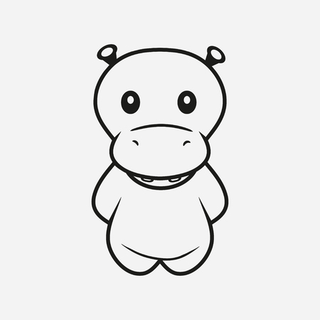 Hippopotamus. Hippo line. Animal. Vector illustration.