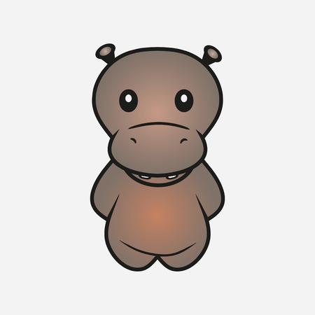Hippo cartoon. Hippopotamus. Animal. Sample for soft toys. Print for clothes, t-shirts. Vector illustration. 일러스트