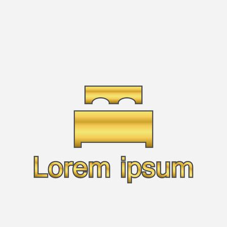 Icono de cama en color dorado sobre fondo claro. Cama con logo. Ilustración vectorial. Logos