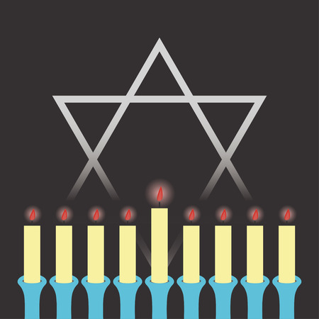 Hanukkah. Star of David. Candles in a candlestick. Vector illustration. Stock Illustratie
