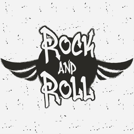 Rock and roll. Gráfico de música rock para imprimir. Diseño de ropa, camisetas, logo. Fondo vintage. Ilustración de vector.