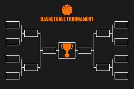 Soporte de torneo. Esquema de campeonato de baloncesto con copa trofeo. Ilustración de vector de deporte.
