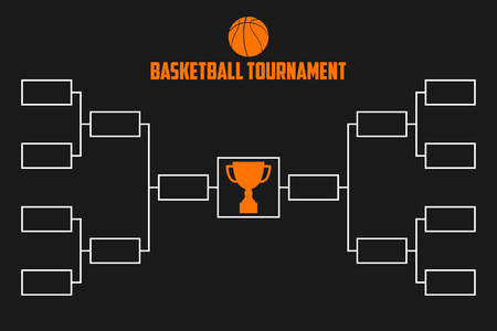 Turnier-Bracket. Basketball-Meisterschaftsschema mit Trophäenpokal. Sport-Vektor-Illustration.