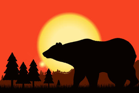 Bear black silhouette on background of the sunset and mountain landscape - rock, woods, forest. Vector illustration.