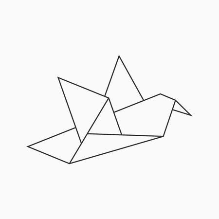 Origami bird. Line geometric shape for art of folded paper. Vector illustration.
