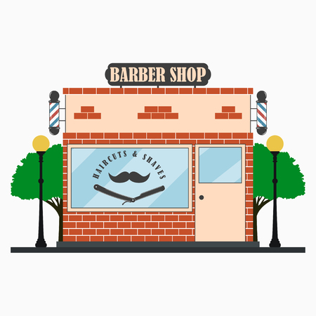 Barber Shop building facade with signboard, barber pole, mustache, straight razor, street lamps, trees. Hairdressing salon. Vector illustration. Illustration