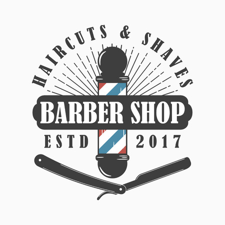 Barber Shop logo. Hairdressing salon template emblem with barber pole, straight razor and sunburst. Vector illustration.