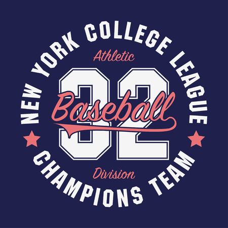 New York, Baseball typography for number t-shirt. Original sportswear print. Athletic apparel typography. Graphic for design sports clothes. Vector illustration. Vettoriali