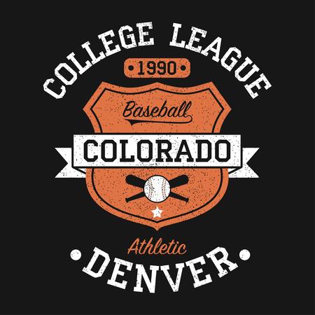 Colorado, Denver vintage baseball graphic for t-shirt. Original clothes design with grunge and shield. Apparel typography. Sportswear print. Vector illustration. Vektorové ilustrace
