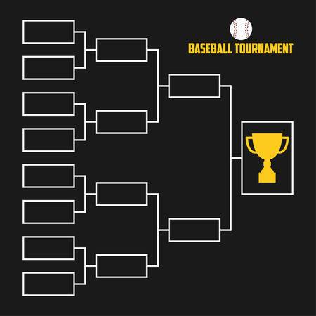 Tournament Bracket. Baseball championship scheme with trophy cup. Sport vector illustration. Illustration