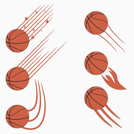 Palle volanti da basket con tracce di movimento di velocità. Progettazione grafica per logo sportivo. Illustrazione vettoriale.