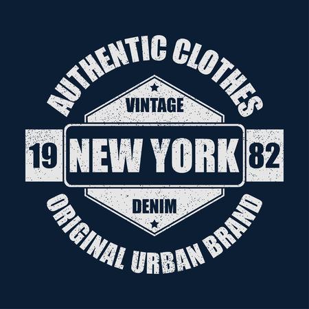 Graphique de la marque vintage de New York pour t-shirt. Conception de vêtements originaux avec grunge. Typographie de vêtements authentiques. Imprimé sportswear rétro. Illustration vectorielle. Vecteurs