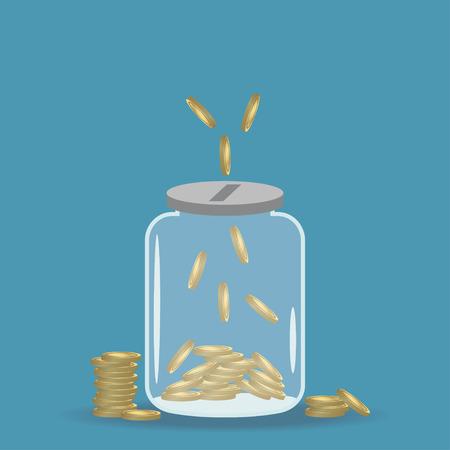 Money saving jar. Gold coins in bank. Vector illustration.