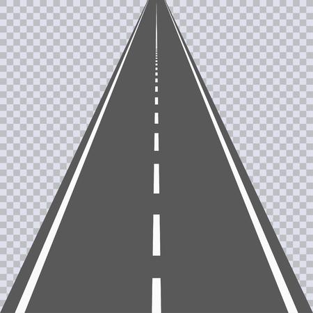 Straight asphalt road with white markings. Highway. Vector illustration.
