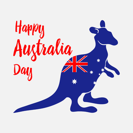 Australia Day. National holiday. Kangaroo painted in flag of the country. Vector illustration.