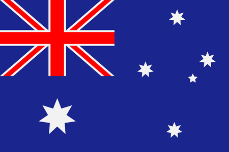 Australia flag. Blue background with a six-pointed stars and a red cross. Vector illustration.  イラスト・ベクター素材