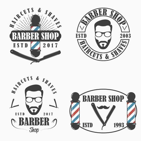 Barber Shop-Logo-Set. Vorlagen für Friseursalon-Embleme. Vektor-Illustration.