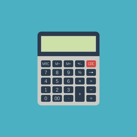 Calculator. Electrical device for calculate numbers. Vector illustration in flat style. Vector Illustration
