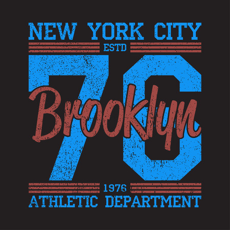 New York, Brooklyn - grunge print logo. Graphic design for number t-shirt, sport apparel. Typography for clothes. Vector illustration Logo