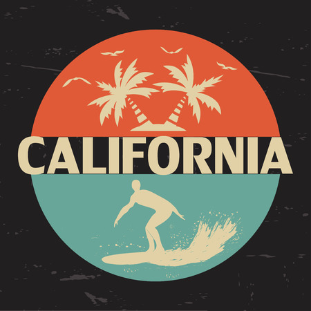 California. USA. Typography for the design of clothing, t-shirts. Gulls, sun, palm, wave surfer on a surfboard. A circle. Graphics for printed materials. Vector illustration.