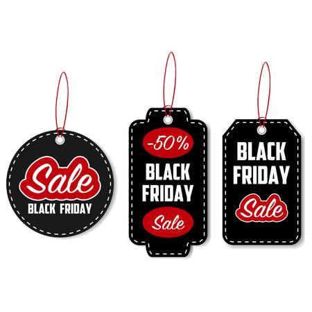 Black Friday sale tag set. Template for discount labels. Vector illustration.