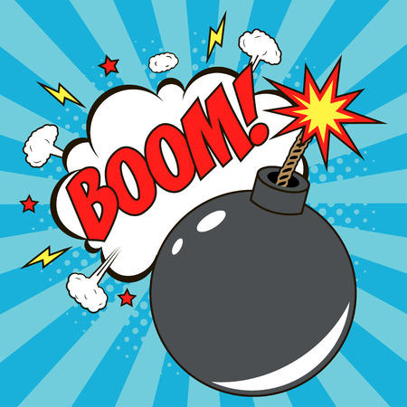 Bomb in pop art style and comic speech bubble with text - BOOM. Cartoon dynamite at background with dots halftone and sunburst. Vector illustration. Vektorové ilustrace