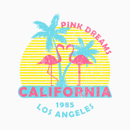 California, Los Angeles - grunge typography for design clothes, t-shirt with flamingo and palm trees. Slogan: Pink dreams. Graphics for print product, apparel. Vector illustration. Vettoriali