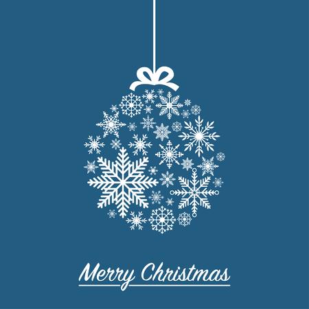 Christmas ball made from snowflakes - Xmas holiday card. Vector illustration.