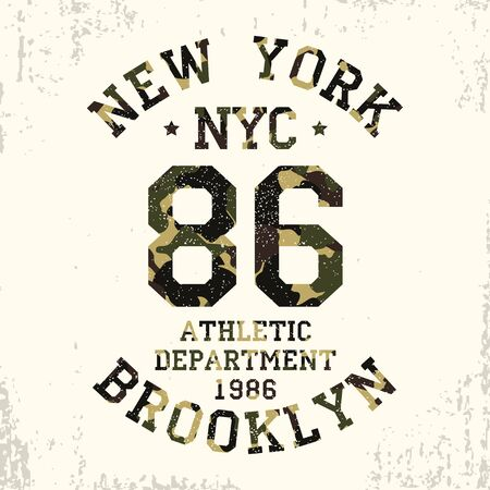 New York, Brooklyn - camouflage grunge typography for design clothes, athletic t-shirt. Graphics for number apparel. Badge for military style print. Vector illustration. 写真素材 - 129413078