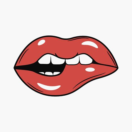 Labbra sexy del morso femminile. Illustrazione di fumetti in stile retrò pop art. Vettore.