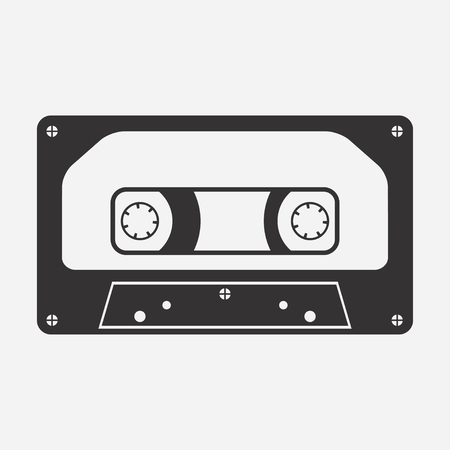 Audio cassette. Audiocassette. Music media. Tape recording. Vector illustration.