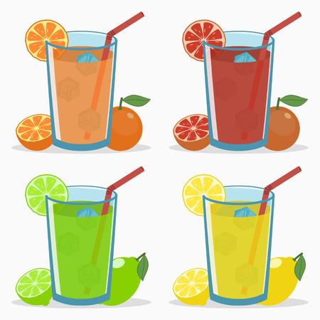 Set of citrus juice - orange, grapefruit, lime, lemon. Natural fresh drink with straw, ice cube, slice and half fruits. Vector illustration. Stok Fotoğraf - 129413113