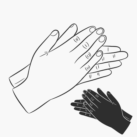 Clapping hands. Applause icons set. Vector illustration.