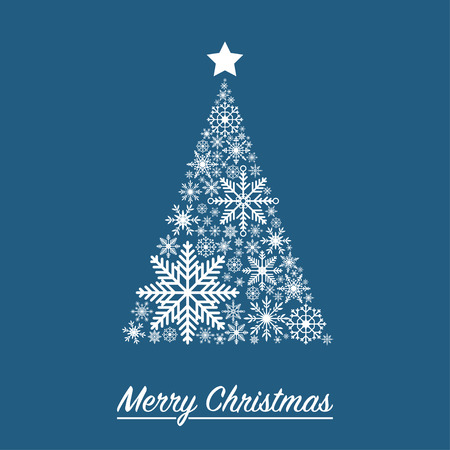 Xmas card with Christmas tree made from snowflakes. Vector illustration.