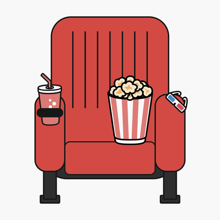 Cinema chair with popcorn, cup of drink and 3D glasses. Movie seat. Poster design, banner template. Vector illustration. Illustration