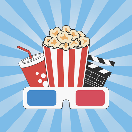 Cinema concept. Movie time. Poster design with popcorn, 3d glasses and soda cup. Banner template with blue sunray background. Vector illustration.
