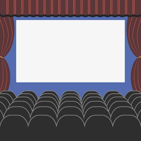 Cinema auditorium in flat style with seats, curtain and blank screen. Movie or theater hall. Vector illustration