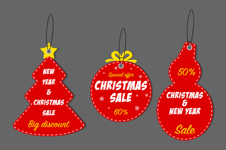Christmas and New Year sale tag set. Template for holiday Xmas discount labels. Vector illustration.